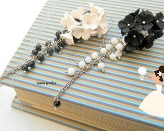 Black White Earrings, Flower Earrings, Wedding Jewelry, Dangle Earrings, Black White Jewelry, Gift For Her,Statement Earrings,Floral Fashion