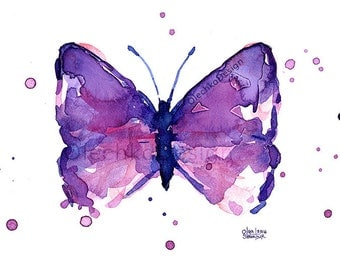 Butterfly Watercolor Painting, Abstract Butterfly, Purple Butterflies, Watercolor Art Print, Giclee, Butterfly Print, Butterfly Art