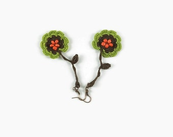 Lime Green and  Brown Long Dangle Flower Earrings,  Crochet Earrings, Crochet Jewelry, Fun Jewelry,  Boho Hippie Jewelry , Gift For Her