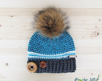 Rustik hat. Gray, turquoise and cream woman crochet winter hat with buttons and fur pompom by Akroche Tatuk (made to order)
