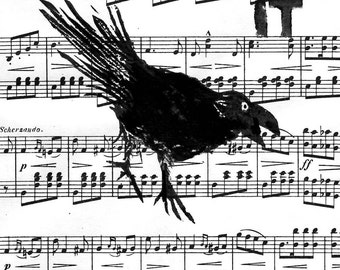 Music Paper Art Print. Birds. Original hand-printed block prints, crow raven and words, by Jesse Larsen. 9x12 Courage building inspiration.