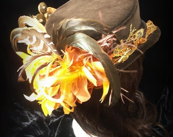 Brown velvet  riding hat with orange trimmings. Top hat. Mini top hat. Steampunk. Victorian. Bridal.