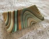 Fused Glass Tray, Brown Orange Blue Art Glass Dish, Southwest Swirl Glass Valet Tray