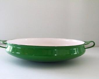 Dansk Kobenstyle Rare Green  Extra Large Buffet Bowl Paella Pan Enameled France Quistgaard 1974-76