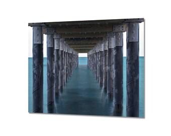 Ocean Pier Metal Print, Metal Wall Art, Martha's Vineyard Seascape Photo, Pier Picture, Large Art, Beach Sea Artwork Teal Grey White Artwork