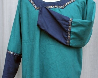 L Guild Master's Tunic in Teal and Navy Blue Linen with Navy, Light Blue, & Gold Trim, Long Sleeve