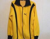 Puma Vintage Yellow & Black Track Sweatshirt, Zip Front Jacket