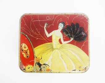 Vintage Red, Black, and Silver Art Deco 1920s Biscuit Tin