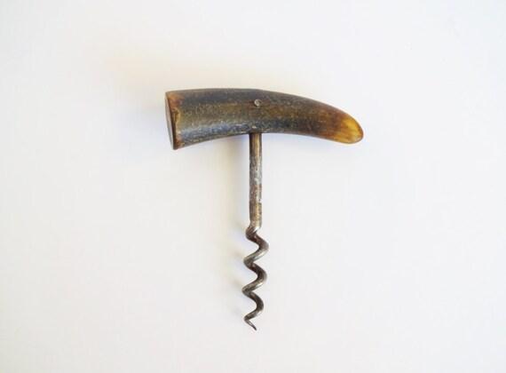 vintage french horn handle wine bottle opener corkscrew. Black Bedroom Furniture Sets. Home Design Ideas