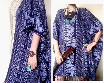 Dark blue Elephant fringe poncho,batwing,caftan ,ethnic dress oversized ,ethnic dress,festival,beach cover boho hippie kaftan tribal dress