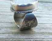 Druzy Snowflake Ring. Sterling Silver Druzy Ring. Rustic Druzy Ring. White Druzy Quartz Ring. Druzy Quartz Ring. Druzy Statement Ring. Sz 7