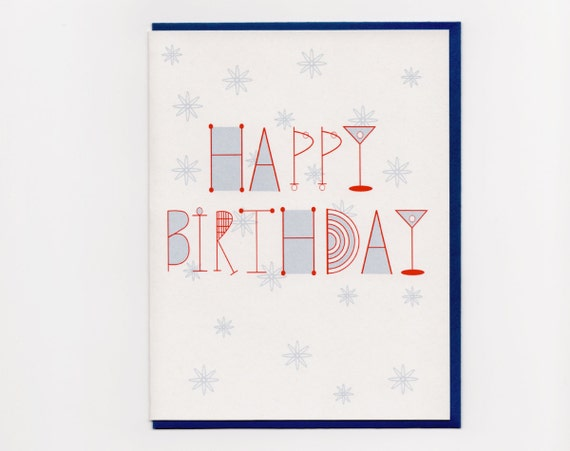 Martini Birthday Card Stars Mid Century Style
