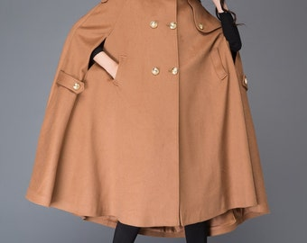 Hooded cloak, cape coat, wool cloak, hooded cape, wool coat, long coat, long cape, winter cloak, maxi coat, plus size coat, brown cape C994