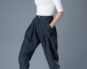 Tulip pants, pleated trousers, blue linen pants, tapered trousers, womens trousers, pocket pants, long trousers, causal pants C831
