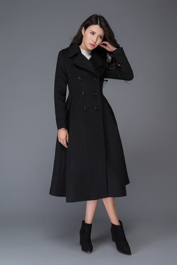 long black coat Wool coat winter coat womens coats womens