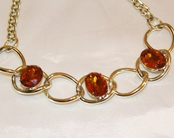 SALE! Desirable Vintage Designer Runway Faceted Amber Rhinestone Chain Necklace NC