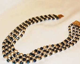 SALE! Stunning Vintage Designer Runway Massive LOUIS ROUSSELET Couture Faux Pearl Glass Blue Multi Strand Necklace ND1