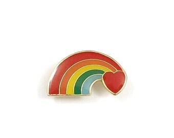 Rainbow Pin, Enamel Pin, Rainbow Lapel Pin, Rainbow Heart Rainbow Tie Tack, Love is Love Rainbow Jewelry LGBT Gay Pride Lesbian Backpack Pin