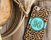 Teen fashion accessories, iPhone 6 case Personalised, iPhone 5s case for girls, Cheetah print with turquoise (9959)