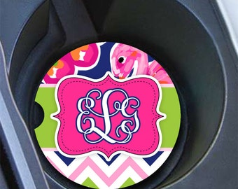 Preppy pink car decor, Pink lime green navy blue, Cute car accessory, Vanity tropical car coaster, Gift for teen granddaughter cute (1665)