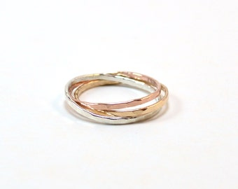 Tri Color Hammered Rolling Rings. Interlocking Rings. Silver, Rose Gold, Yellow Gold Interlocking Rings. Russian Wedding Band.
