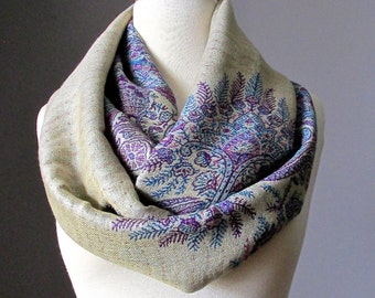 Fern scarf,  infinity scarf in Beige and Purple , fall scarf, winter scarf,  oversized scarf