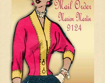1950s Mail Order Pattern Marian Martin 9124 Collarless Shrug Jacket with Raglan Sleeves Bust 34