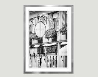 Kitchen art, Paris Photography, Laduree Paris Cafe photo, Black and White Photography print, vertical large wall art, 12x16, 16x20, 24x36