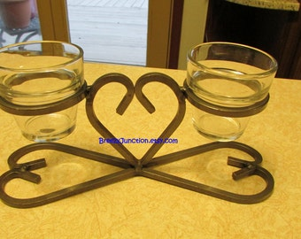 Heart Shaped Votive Candle Holder w/ 2 Glass Votive, Hand Wrought Stainless Steel Folk Art Crafted, Primitive Decor ~BreezyJunction.etsy.com