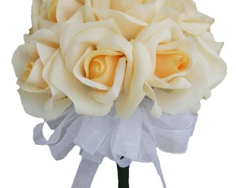 Yellow Silk Rose Toss Bouquet - Silk Bridal Wedding Bouquet