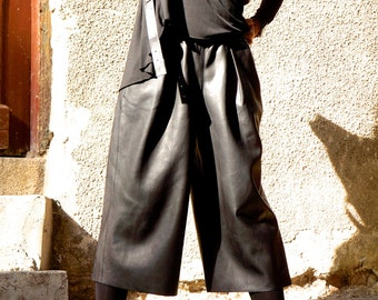 NEW Loose Eco Leather  Black Wide Capri Pants  / Cropped Pants  / Extravagant Vegan Pants with  Side Pockets  by AAKASHA A05322