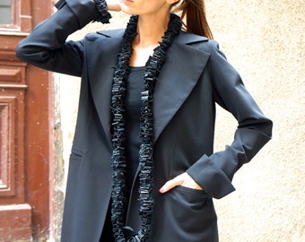 New Black  Stylish Blazer / New Autumn Coat /Black Cold Wool Coat / Extravagant Open Back  Buttoned Blazer by Aakasha A10324