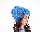 ON SALE Chunky Knit Slouchy Hat Beanie Toque with One Natural Coconut Shell Button // The Laurel // in Sky Blue