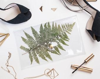 Vinyl Clutch Bag See Through Handbag with Real Alaska Fern