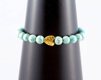 Blue Turquoise Magnesite Stretch Bracelet with Gold Heart (plated), Aqua Bead Bracelet, Semi Precious Gem Stone Jewelry, Stacking Bracelet