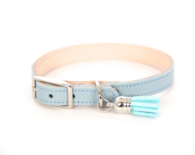 Cat or Small Dog Collar // Light Blue // Optional ID Tag