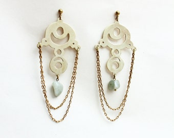 MUSA -chandelier earrings - brass and serpentine