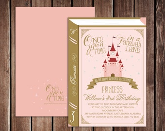 Once Upon A Time Book Princess Castle Birthday Party Printable PDF invitation - 5x7 double sided - Enchanted Princess Book Invitation