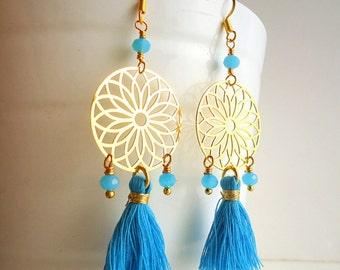 Tassel earrings, Sky blue earrings, Dream catcher earrings, boho earrings, beach earrings, gypsy earrings, summer trend 2018, gold earrings