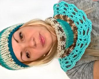 Hand knitted tube cowl scarf for her tube neckwarmer crochet turquoise teal beige neck warmer gift for woman, gift for girl, Christmas gift