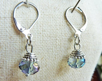 Pale Blue Dainty Crystal Antique Earrings