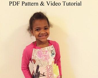 Kids Apron PDF Pattern & Video Tutorial 4T -7 years