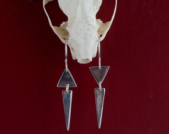 Asymmetrical Triangle Dangles; Triangle earrings; Asymetrical Earrings; Sterling silver triangle earrings