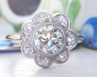 Spectacular Art Deco Vintage Flower Cluster Diamond Engagement Ring. Total Diamond Weight 1.10 Carats. Stunning Quality VS1 Diamond Clarity