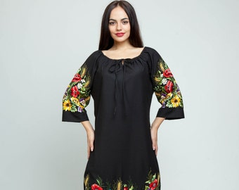 """Embroidered dress """"Floral"""" hand embroidery"""