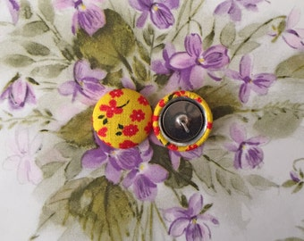 Wholesale Button Earrings / Fabric Covered / 1950s 50s / Posts / Gifts for Her / Yellow / Handmade / Bulk Jewelry / Hypoallergenic / Retro