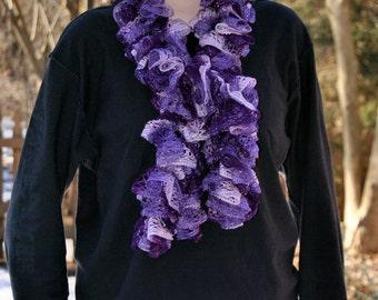 Handmade Ruffle Scarf ~ Crochet ~ Purple and lavender hues with a slight sparkle