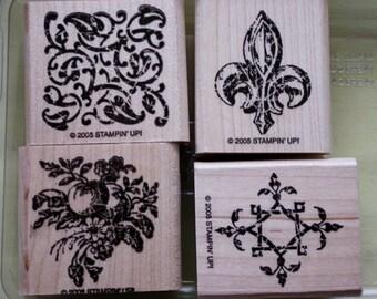 Timeworn Trim Set of Four Rubber Stamps Stampin Up 2005
