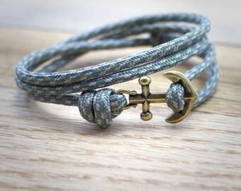 Mens Anchor Bracelet - Paracord Bracelet - Rope Bracelet - Nautical Bracelet - Anchor Bracelet - Fish Hook Bracelet - Gray Paracord