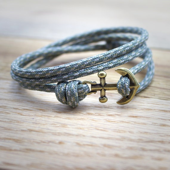 Mens Anchor Bracelet - Paracord Bracelet - Rope Bracelet - Nautical Bracelet - Anchor Bracelet - Fish Hook Bracelet - Gray Paracord